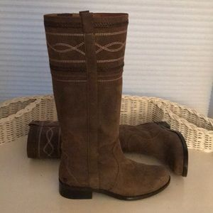 Ruff Hewn Leather Pull On Tall Boots Size 8 1/2